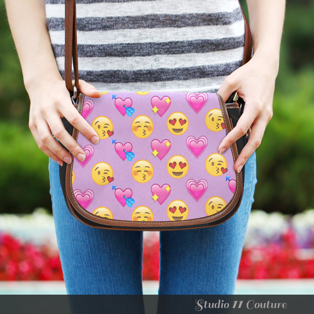 Emojis Love Crossbody Shoulder Canvas Leather Saddle Bag