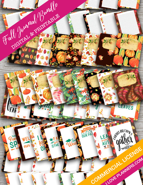 Fall Mix and Match Journal Bundle Digital Printable, Stationary, Scrapbooking, Planner and Journal, Digital Journal, Digital Planner Stickers