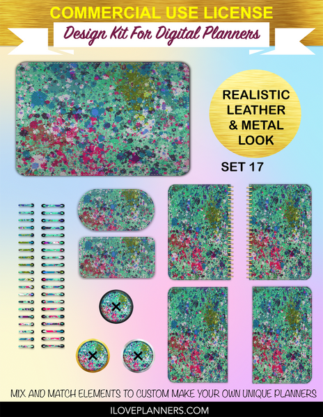 Paint Splatters Digital Planners, Spirals, Coils, Customize Your Digital Planners, Commercial Use OK, Digital Planners, Digital Journals, Compatible for PC, Mac, CANVA. #40