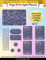 Purple Lovers Chunky Glitter Cover Kit for Digital Planners, Spirals, Coils, Customize Your Digital Planners, Commercial Use OK, Digital Planners, Digital Journals, Compatible for PC, Mac, Canva, #16