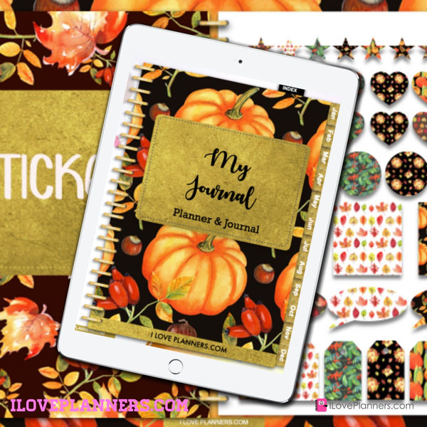 Fall Digital Planner and Journal/ GoodNotes, Xodo, Digital Journal, iPad Planner, tablet Planner Digital Planner Stickers