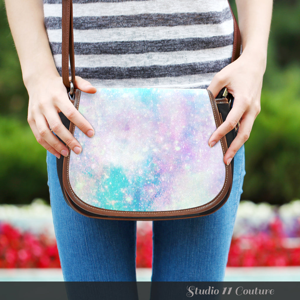 Galaxy Pastel 4 Crossbody Shoulder Canvas Leather Saddle Bag - STUDIO 11 COUTURE