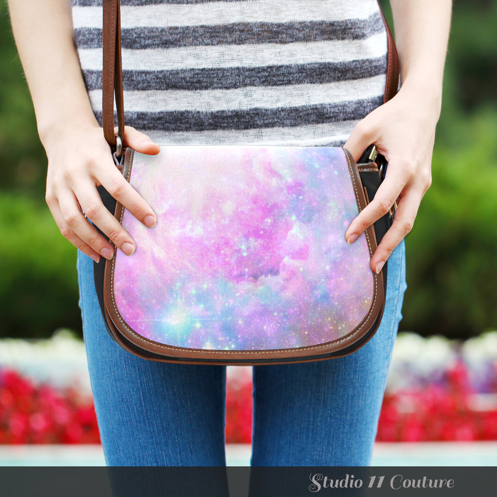 Galaxy Pastel 5 Crossbody Shoulder Canvas Leather Saddle Bag - STUDIO 11 COUTURE
