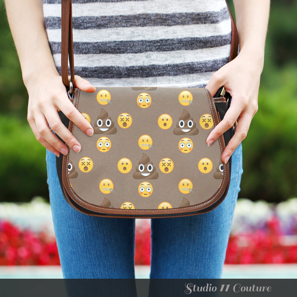 Emojis Poo Crossbody Shoulder Canvas Leather Saddle Bag