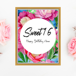16th Birthday Party Signage - Sweet 16 Birthday Party Decor - Party Signage - Happy Birthday Signage - Milestone Birthday Sign Printable