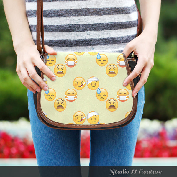 Emojis Sick Crossbody Shoulder Canvas Leather Saddle Bag