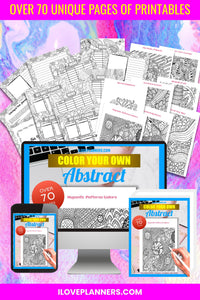 Abstract - Coloring Book and Journal Bundle/ Printable Activity Books/ Kids Activity Book. No.1