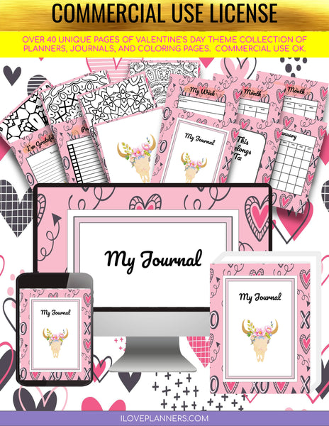 Valentines Day Planner and Journal/ Coloring Book/ Coloring Planner/ Printable Planner and Journal/ Journal, Planner, DIY, Print At Home, Digital Download
