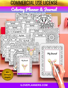Coloring Planner and Journal/ Coloring Book/ Coloring Planner/ Printable Planner and Journal/ Journal, Planner, DIY, Print At Home, Digital Download