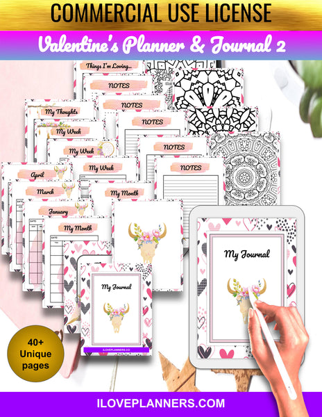Valentines Day Planner and Journal 2/ Coloring Book/ Coloring Planner/ Printable Planner and Journal/ Journal, Planner, DIY, Print At Home, Digital Download