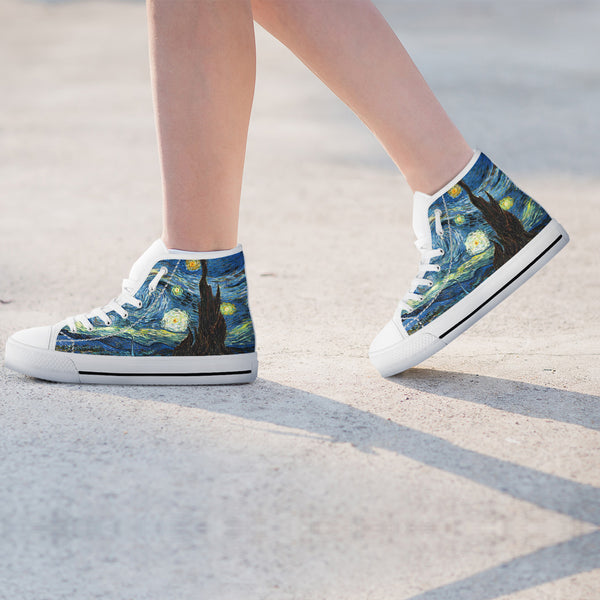Vincent Van Gogh Starry Night Womens High Top Shoes - STUDIO 11 COUTURE