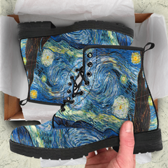 Vincent Van Gogh Starry Night Womens Leather Boots