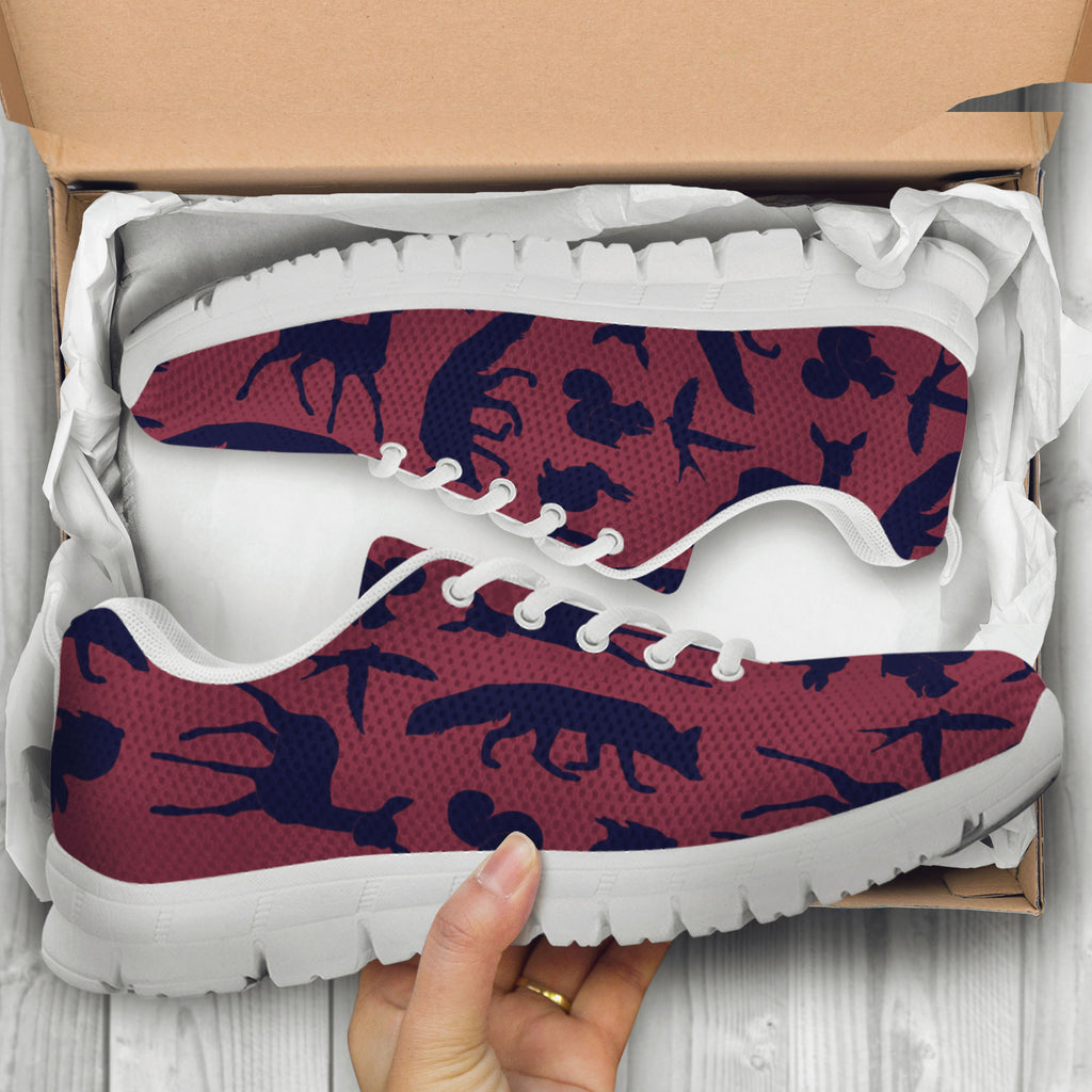 Woodland Creatures Red Kids Sneakers - STUDIO 11 COUTURE