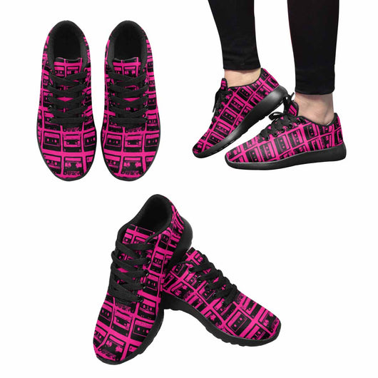 Model020 Women's Sneaker 80s Cassette Tapes Hot Pink and Black - STUDIO 11 COUTURE