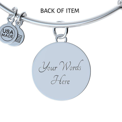 Alice In Wonderland Quote 2 PERSONALIZED Custom Design Silver or Gold Plated Bracelet Bangle, Custom Laser Engraved Jewelry, Circle Round Pendant, Pendant Bracelet, Gift for Her, Gift For Mom