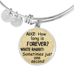 Alice In Wonderland Quote 8 PERSONALIZED Custom Design Silver or Gold Plated Bracelet Bangle, Custom Laser Engraved Jewelry, Circle Round Pendant, Pendant Bracelet, Gift for Her, Gift For Mom