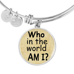 Alice In Wonderland Quote 5 PERSONALIZED Custom Design Silver or Gold Plated Bracelet Bangle, Custom Laser Engraved Jewelry, Circle Round Pendant, Pendant Bracelet, Gift for Her, Gift For Mom