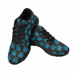 Model020 Women's Sneaker 80s Boombox Black and Teal 2