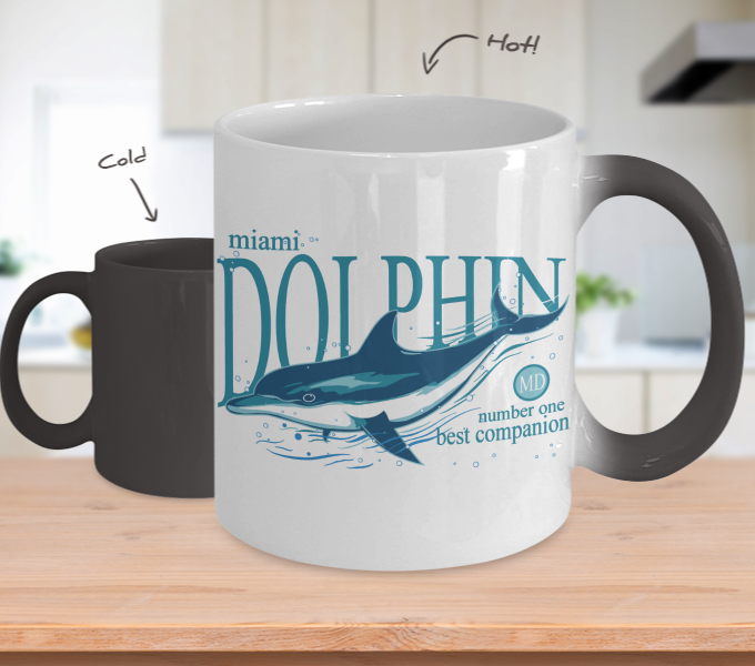 Color Changing Mug Animals Miami Dolphin Number One Best Companion