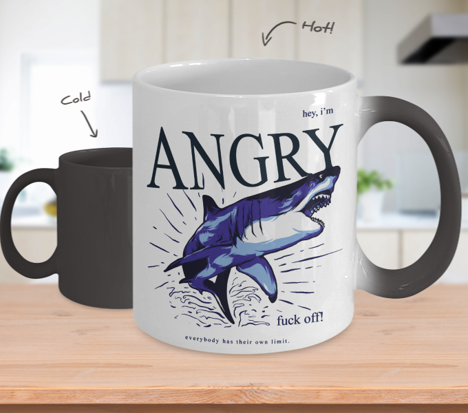 Color Changing Mug Animals Hey I'm Angry Shark