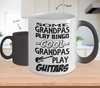 Image of Color Changing Mug Family Theme Some Grandpa Play Bingo Cool Grapa Play Guitars