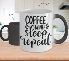 Color Changing Mug Funny Mug Inspirational Quotes Novelty Gifts Coffee Wine Sleep Repeat