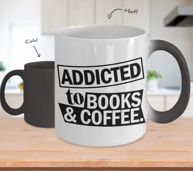 Color Changing Mug Book Theme Addicted To Book & Coffee