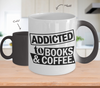 Image of Color Changing Mug Book Theme Addicted To Book & Coffee