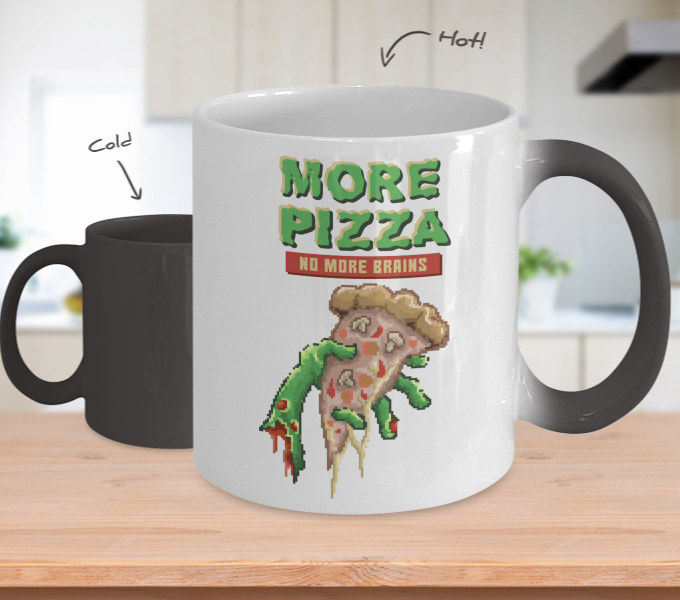 Color Changing Mug Retro 80s 90s Nostalgic Zombie Pizza