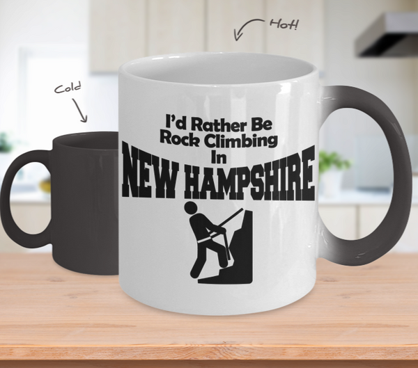 Color Changing Mug Adventure Theme I'd Rather Be Rock Climbing In New Hampshire