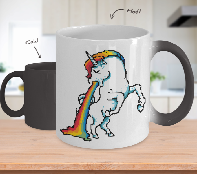 Color Changing Mug Retro 80s 90s Nostalgic Puke Og Then Unicorn