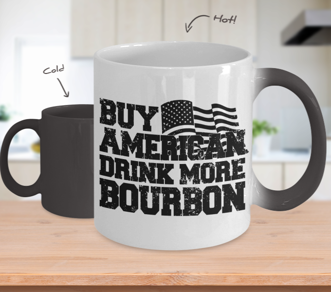 Color Changing Mug Drinking Theme Buy American Drink More Bourbon