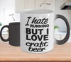 Image of Color Changing Mug Drinking Theme I Hate Running But I Love Craft Beer