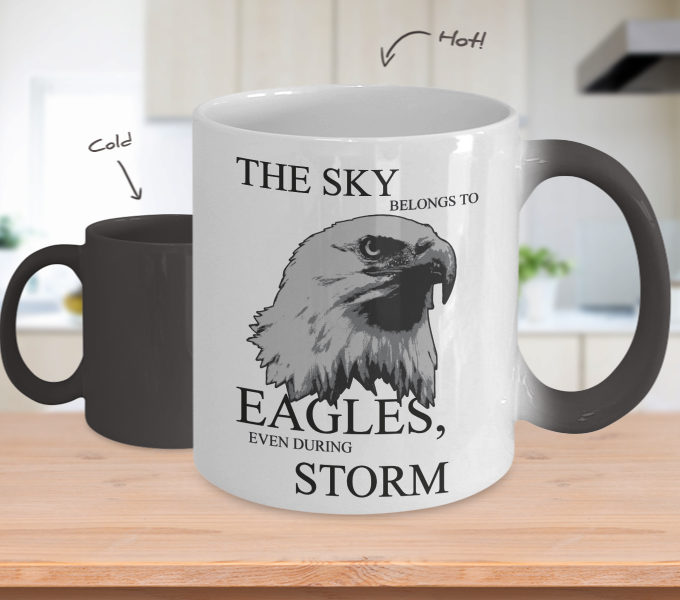 Color Changing Mug Animals The Sky Belongs To Eagles Even During Storm