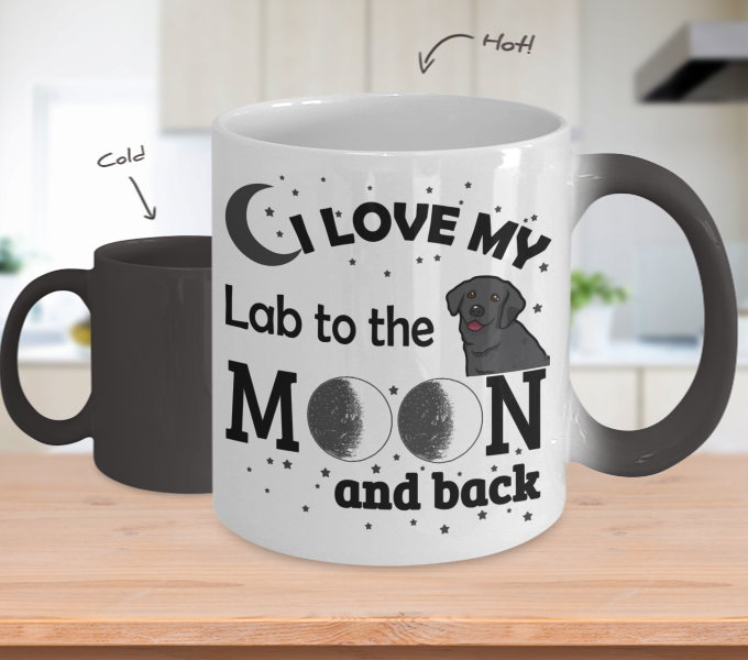 Color Changing Mug Dog Theme I Love My Lab To The Moon And Back