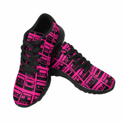Model020 Women's Sneaker 80s Cassette Tapes Hot Pink and Black