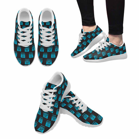 Model020 Women's Sneaker 80s Boombox Black and Teal 2 - STUDIO 11 COUTURE