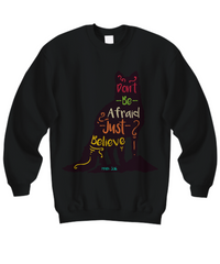 Sweatshirt Sweater Hoodie T-shirt Tee Top Black Christian Wolf Don't Be Afraid Just Believe