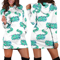 Green Cheshire Cat Alice In Wonderland Women's Hoodie Dress - STUDIO 11 COUTURE