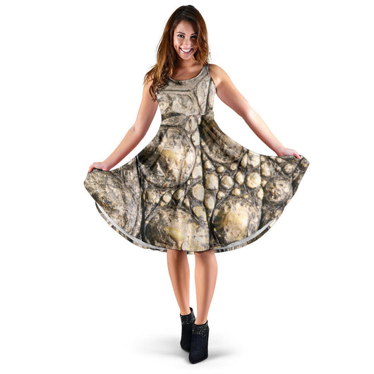 Women's Dress, No Sleeves, Custom Dress, Midi Dress, Animal Skin Texture 1-02