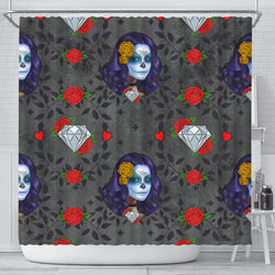 Sugar Skull Diamond Red Rose Shower Curtain - STUDIO 11 COUTURE
