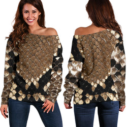 Women Teen Off Shoulder Sweater Animal Skin Texture 1-09