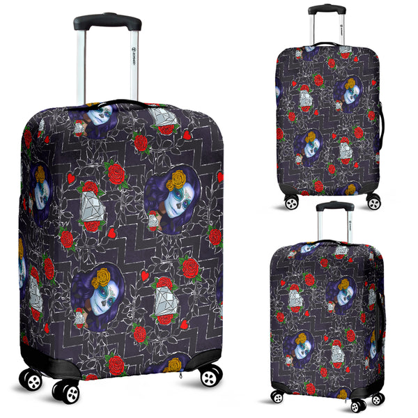 Sugar Skull Chevron Luggage Cover - STUDIO 11 COUTURE