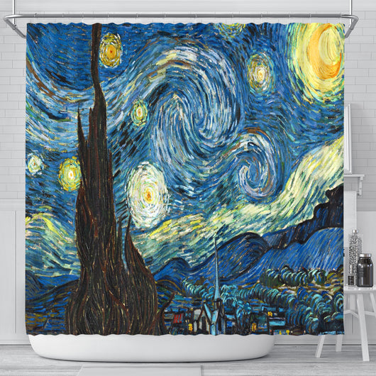 Vincent Van Gogh Starry Night Shower Curtain - STUDIO 11 COUTURE
