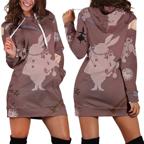 White Rabbit Alice In Wonderland Women's Hoodie Dress - STUDIO 11 COUTURE