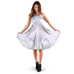 Women's Dress, No Sleeves, Custom Dress, Midi Dress, Unicorn 13