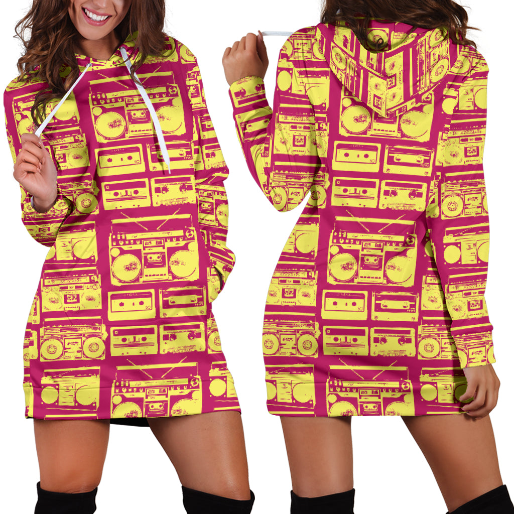 80s Yellow Boombox Women's Hoodie Dress
