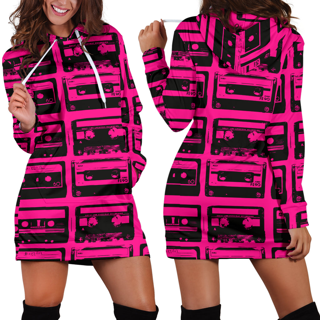Studio11Couture Women Hoodie Dress Hooded Tunic 80s Fuchsia Boombox Athleisure Sweatshirt