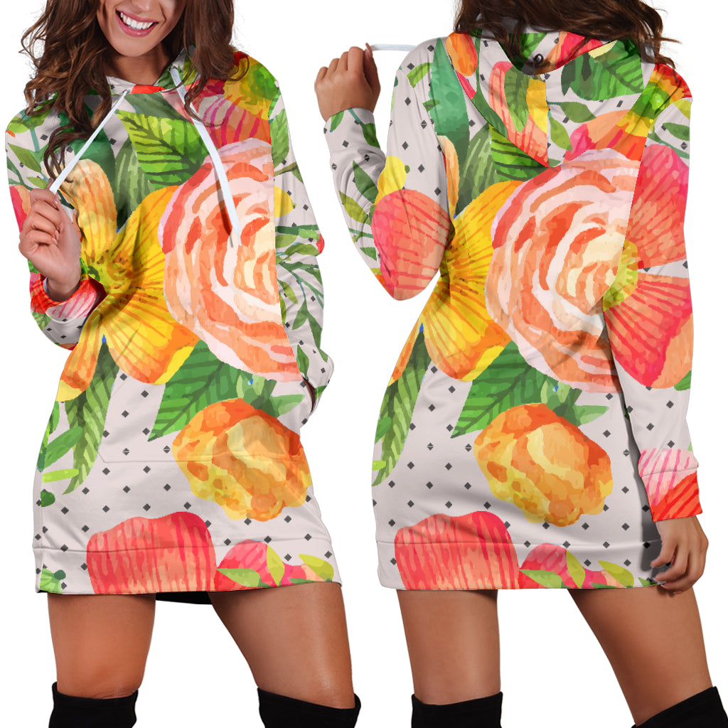 Beautiful Floral Spring Sexy Trendy Women Teen Long Sleeves Hoodie Dress Hooded Tunic