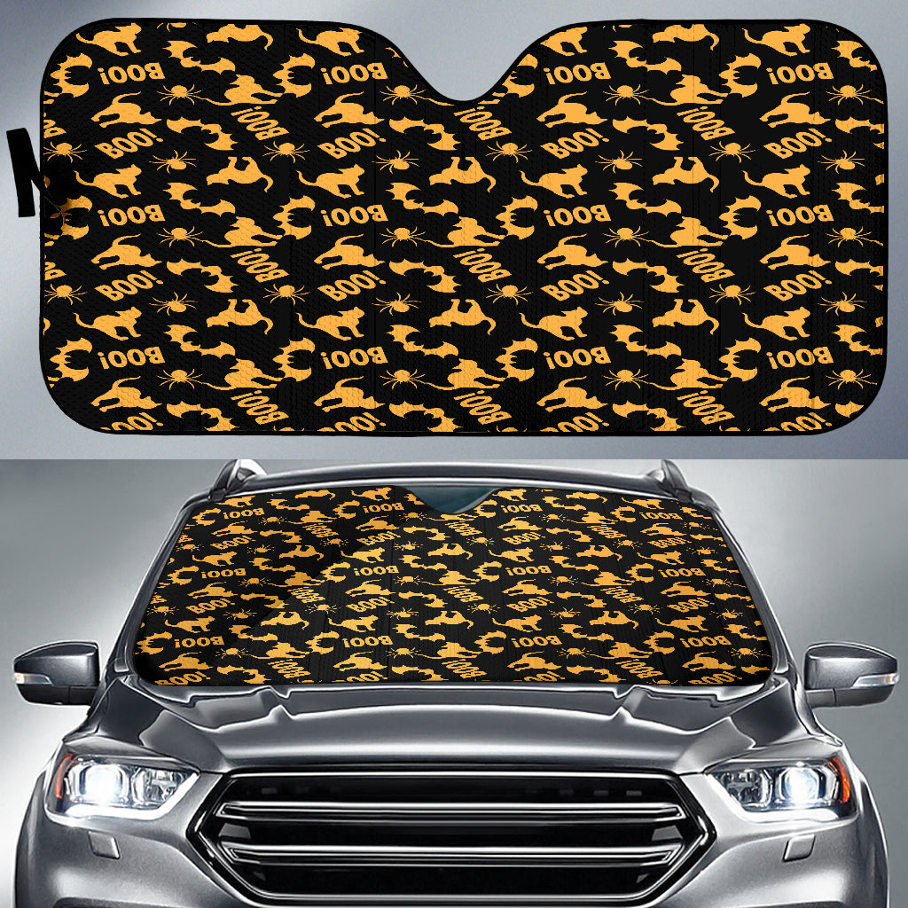 Trick or Treat Black Orange Cat Boo Auto Sun Shades